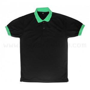 เสื้อโปโลสีดำแถบเขียว